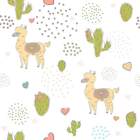 Seamless Alpaca Pattern with cacti, hearts and dots on dark background. Hand Drawn Design. vector Illustration