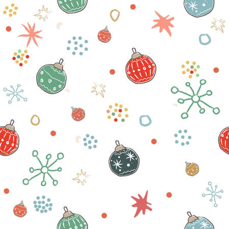 Cute Winter Pattern with festive ornaments and snowflakes. Merry Christmas Collection. Vector Illustration Ilustracja