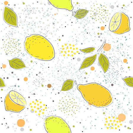 Cute Seamless Pattern with lemon. Hand Drawn. Vector Illustration