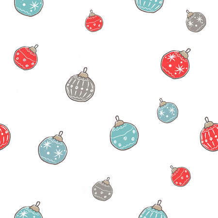 Winter Seamless Pattern with festive ornaments on subtle background. Great For swatches, fabric, wrapping/gift paper, wall art design, etc. Vector Illustration Ilustracja