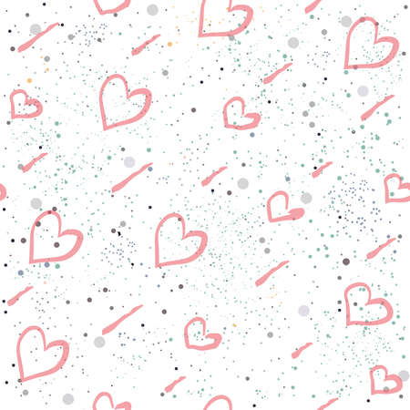 Seamless Heart Pattern on white background with dots. Hand Drawn Design. Great for wall art design, gift paper, wrapping, fabric, textile, etc.