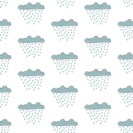 Seamless cloud pattern with drops of rain on dark background. Vector Illustration