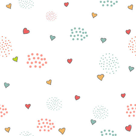 Cute Pattern with little hearts and dots on white background. Hand Drawn Design. Vector Illustration Ilustracja
