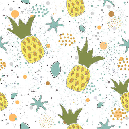 Cute Seamless Pattern with pears and dotted background. hand Drawn Delicate Design. Scandinavian Style. For cards, templates, gift paper, prints, decorations, templates, etc. Vector Illustration