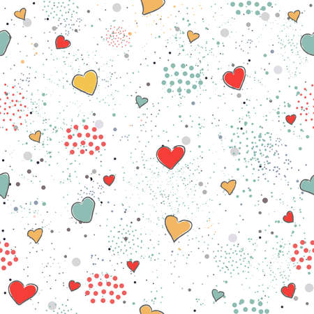 Creative Hand Drawn Seamless Pattern with Hearts.Great for wedding cards, postcards, t-shirts, bridal invitations, brochures, posters, gift wrapping, wall art, wallpapers, etc.Vector Illustration. Ilustracja