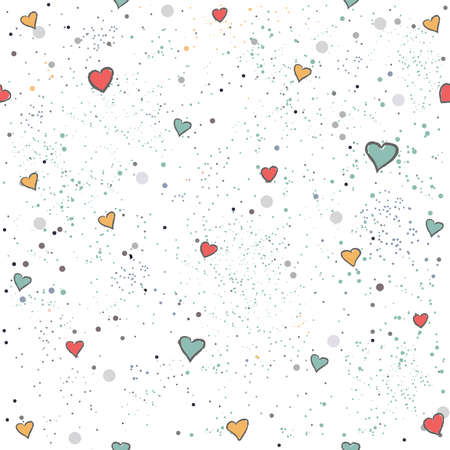 Cute Seamless Pattern with colorful ball on paper background with stripes. Hand Drawn. vector Illustration.