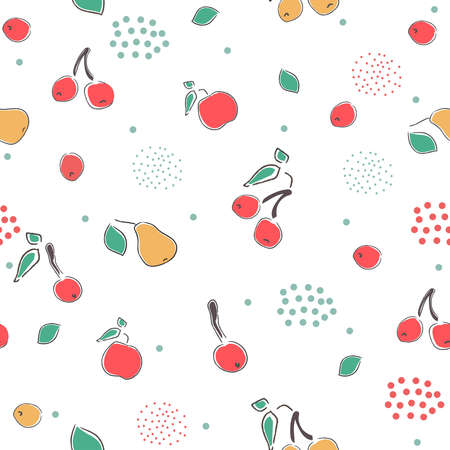 Cute Hand Drawn Pattern with berries of cherry. apple and pear. Great for wedding cards, postcards, t-shirts, bridal invitations, brochures, posters, gift wrapping, wall art, etc.Vector Illustration.