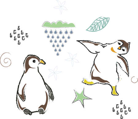 Cute Winter Icon with penguins. Hand Drawn Scandinavian Style. Vector Illustration
