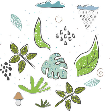 Cute Icon with Leaves. Collection of Leaves. Hand Drawn Scandinavian Style. Vector Illustration Ilustracja