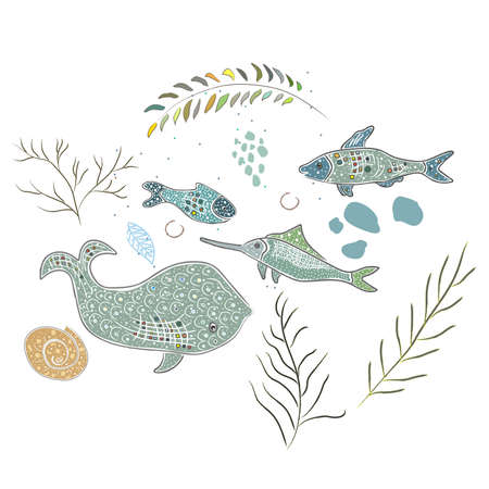 Cute Winter Icon with ocean fish and algae. Hand Drawn Scandinavian Style. Vector Illustration