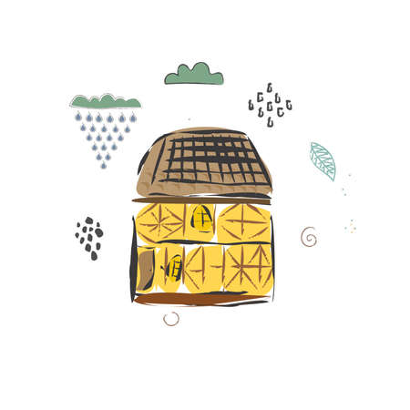 Cute Winter Icon with House and CLoud. Hand Drawn Scandinavian Style. Vector Illustration