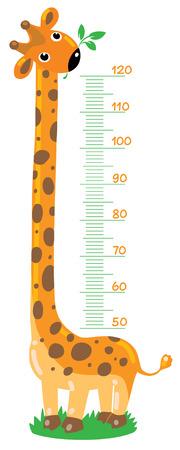 giraffe cartoon: ni�os alegres s estadi�metro-jirafa de 50 a 120 cent�metros