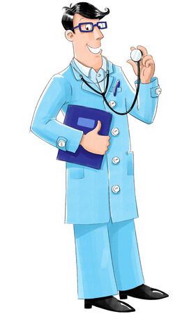 Smiley doctor in light-blue coat with stethoscope and medical card photo