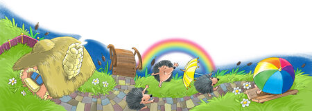day nursery: hedgehogs have fun in the garden near the house after the rain