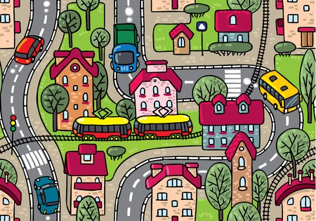 rail yard: Road pattern  Seamless vector background with streets, railway, houses and trees Illustration