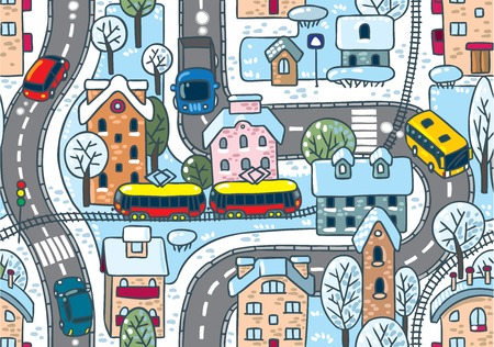 rail yard: Road pattern  Seamless vector winter background with streets, railway, houses and trees Illustration