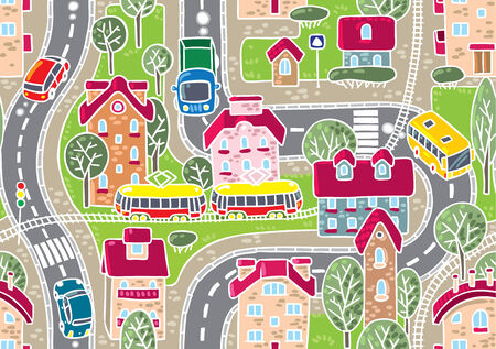 rail yard: Road pattern  Seamless vector background with streets, tailway, houses and trees