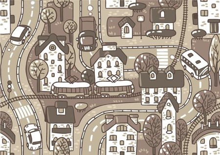 bush babies: Road pattern  Seamless vector background with streets, tailway, houses and trees