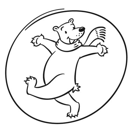 Funny cheerfully jumping polar bear Illustration