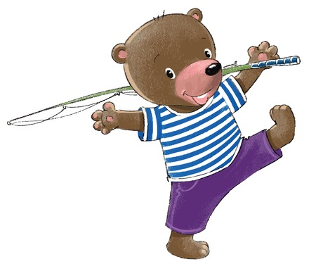 first grader: Funny bear-sailor go fishing  Illustration
