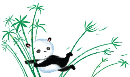 blown: Panda sitting on bamboo, blown away by the wind Illustration