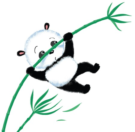 blown: Panda jumping on bamboo, blown away by the wind Illustration