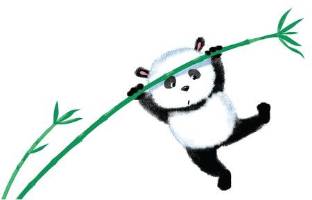 팬더는 바람에 의해 날려, 대나무에 점프 일러스트