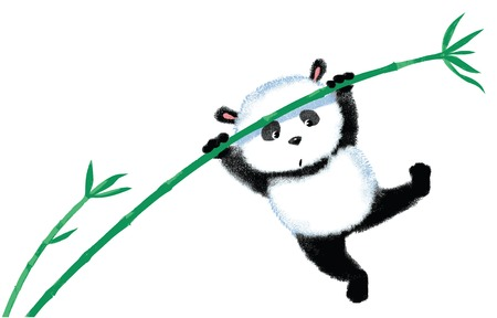 blown away: Panda jumping on bamboo, blown away by the wind Illustration
