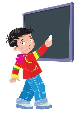 first grader: schoolboy writes chalk on a blackboard