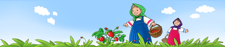day nursery: Two small girls picking berries on the lawn Stock Photo