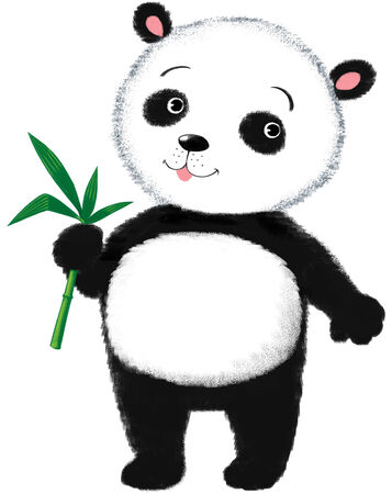 placidity: Funny little Panda with bamboo leafs