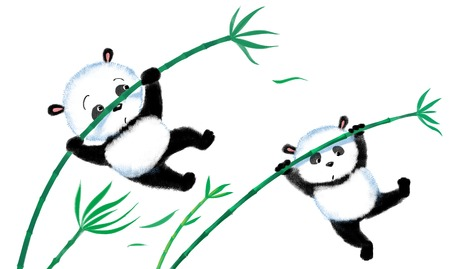 blown: Two panda jumping on bamboo, blown away by the wind
