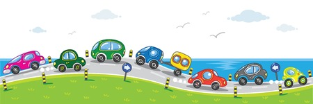 Horizontal seamless pattern with cars, going to the sea