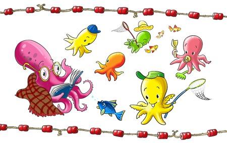 first grader: cheerful children s garden octopus on the seabed
