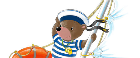 funny bear-sailor in peakless cap on the yacht photo