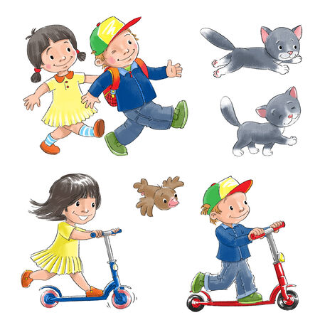 day nursery: Isolated objects  Happy smiling walking children, Children ride  scooters with a cat and a bird  Stock Photo