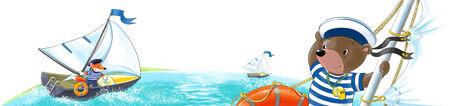 managed: boats, managed animals-sailors floating on the sea  Stock Photo