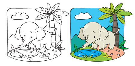 Coloring picture of elephant on a green lawn Vector