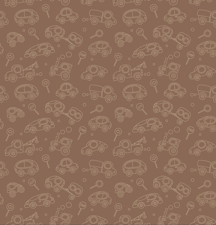 Seamless pattern of small funny vector vintage retro cars and signs Vector