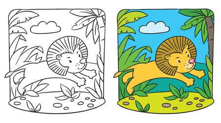 Coloring picture of little fun lion jumping out of the jungle Vector