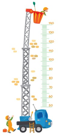 chairlift: Meter wall  stadiometer  with two funny workers  house painters  and machine-lift from 50 to 140 centimeter Illustration