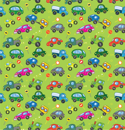 Pattern of small funny vector cars and signs Vector