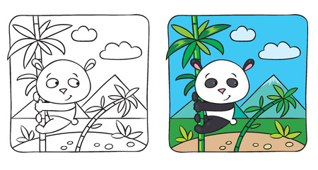 Coloring picture of little funny panda siting on a bamboo  Vector