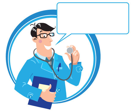 Design template with smiley doctor in light-blue coat with stethoscope and medical card Vector