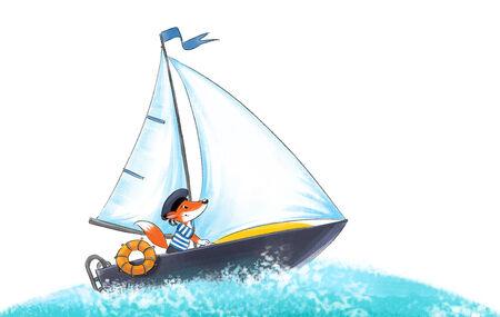ヨットの上 peakless キャップで面白い勇敢な fox 船乗り