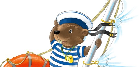 cordage: Funny beaver-sailor in peakless cap on the yacht