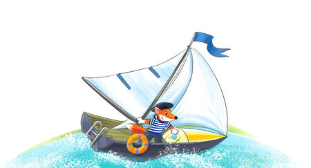 Funny brave fox sailor in peakless cap on the yacht Stock Photo