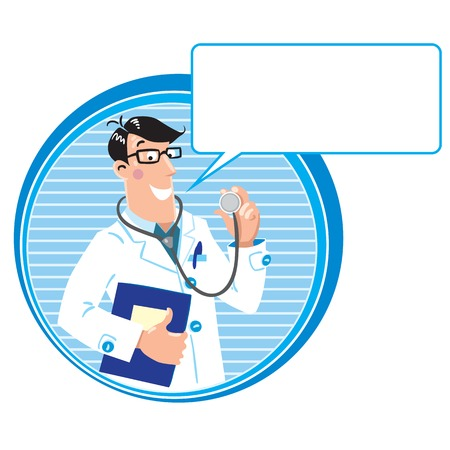 Design template with smiley doctor in white coat with stethoscope and medical card in round border with balloon  Vector