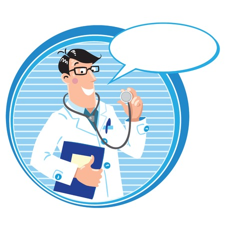 family practitioner: Design template with smiley doctor in white coat with stethoscope and medical card in round border with balloon