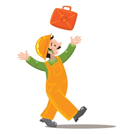 dungarees: a happy worker in an orange jumpsuit and orange helmet throws up a suitcase with tools Illustration